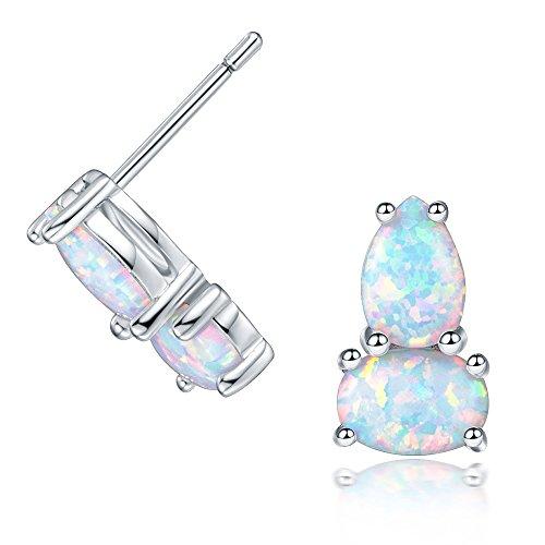 OPALBEST Created or Simulated Gemstone Oval Two Opal Stones Dangling Stud Earrings with Rhodium (Halloween Earrings Australia)