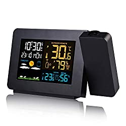 Powstro Projection Alarm Clock, Weather Station Wireless Digital Alarm Clock Weather Indoor Weather Station Outdoor Thermometer Hygrometer Barometer with Wireless Sensor Outdoor with LCD Screen