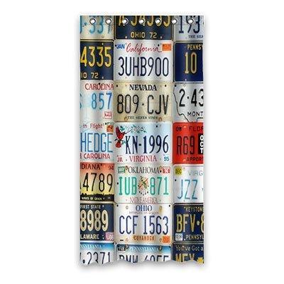 Custom License Plate Shower Curtain Polyester 90cm X 183cm