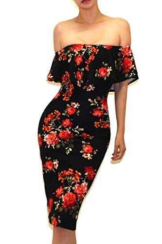 Vivicastle Women's Off Shoulder Ruffle Bodycon Fitted Midi Dress (X-Large, Dd22, Blk/Coral) - Bodycon Dress Shoulder