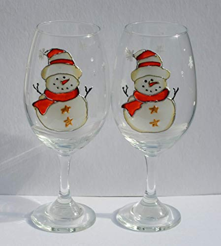 Snowman Red Hat Hand Painted Stemmed Wine Glasses Set of 2