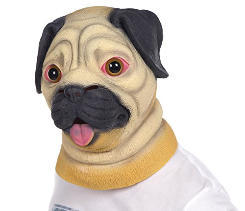 [Lubber Halloween Costume Pug Latex Animal dog Head Mask] (Human Dog Costume)