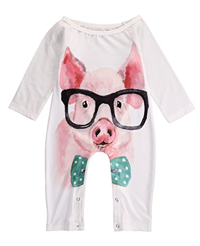 [Baby Boy Girl 3D Animal Printed Romper Long Sleeve Jumpsuit Playsuit Outfits (0-6 months, pig)] (Animal Outfits For Toddlers)