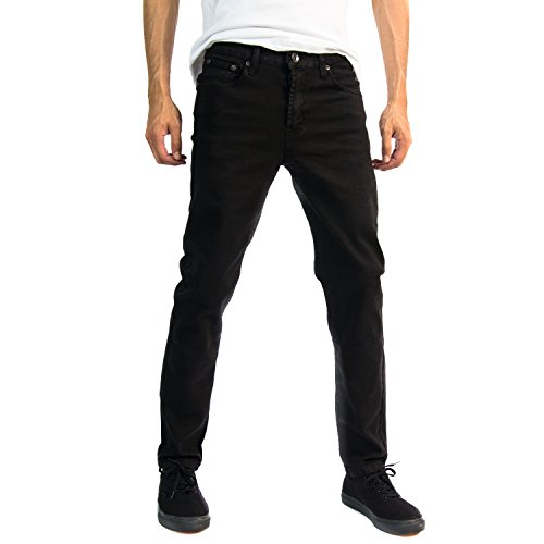 Alta Designer Fashion Mens Slim Fit Skinny Denim Jeans - Black- 38
