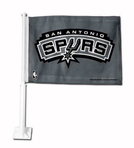 NBA San Antonio Spurs Silver Background Car Flag (Silver Nba Spur)