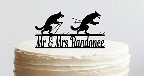 Cross-country Skiing Cake Topper, Telemark, Randonee, Backcountry skiing. Includes: Your Name or Phrase, Font Options, Cake Stakes, ()