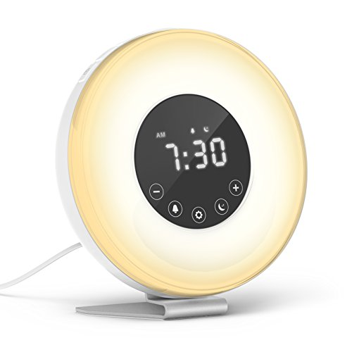hOmeLabs Sunrise Alarm Clock – Digital LED Clock with 6 Color Switch and FM Radio for Bedrooms – Multiple Nature Sounds Sunset Simulation & Touch Control – With Snooze Function for Heavy Sleepers
