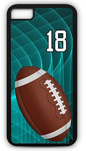 iPhone 8 Plus 8+ Case Football F048Z Choice of Any Personalized Name or Number Tough Phone Case by TYD Designs in Black Plastic and Black Rubber with Team Number - Name Charm Football