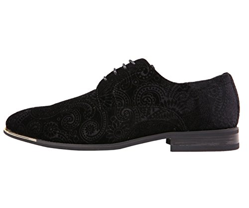 Amali Herre Paisley Fløjl Oxford Smoking Mode Kjole Sko Med Metalspids, Stil Chadwick Sort