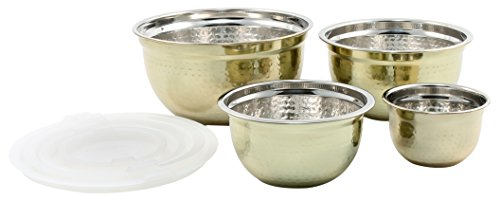 (Cambridge Silversmiths Hammered Gold With Lid Bowl, 4 Piece Set)