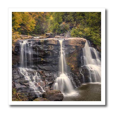 3dRose Danita Delimont - Waterfalls - USA, West Virginia, Blackwater Falls State Park. Waterfall and Forest. - 8x8 Iron on Heat Transfer for White Material (ht_315212_1)