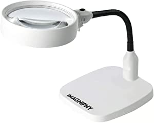 iMagniphy 8X Lighted Desktop Magnifier - Extra Large 5.5 Inch Lens & Sturdy Stand - Hands Free Adjustable Design with 6 Bright LEDs - Illuminated Tabletop Magnifying Glass Lamp with Light for Reading