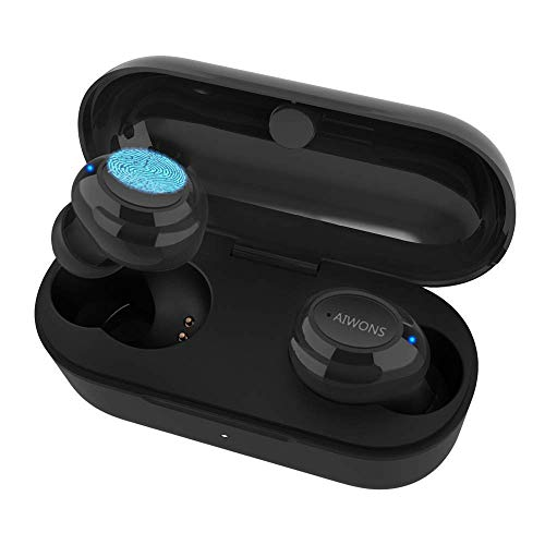 True Wireless Earbuds Bluetooth Headphones, AIWONS Bluetooth 5.0 Touch Control Stereo Hi-Fi Sound IPX5 Waterproof 16H Playtime with Charging Case, Bluetooth Headset Black