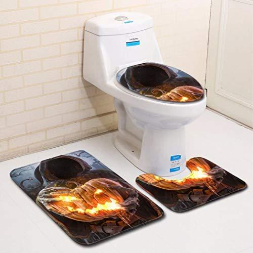 Halloween Clearance, Pumpkin Lantern Printed Toilet Seat Cover and Rug Bathroom Set Halloween Decor (E)]()
