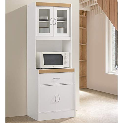 Pemberly Row Tall 24'' Wide China Kitchen Cabinet with Microwave Storage in White by Pemberly Row (Image #1)