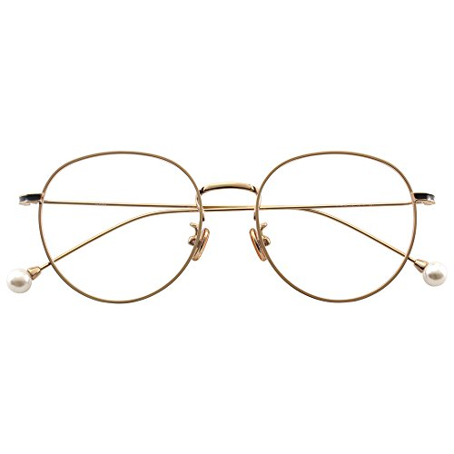 HUFU Fashion Round Clear Lens Spike Removeable Pearl Decorate Metal Glasses Frame Circle Eyeglasses - - Glasses Frames Decorate