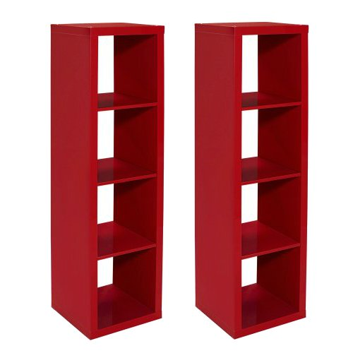 Horizontal/Vertical Multiple Storage 4 Cube Organizer in Red Lacquer, 2 pack by Better Homes and Garden