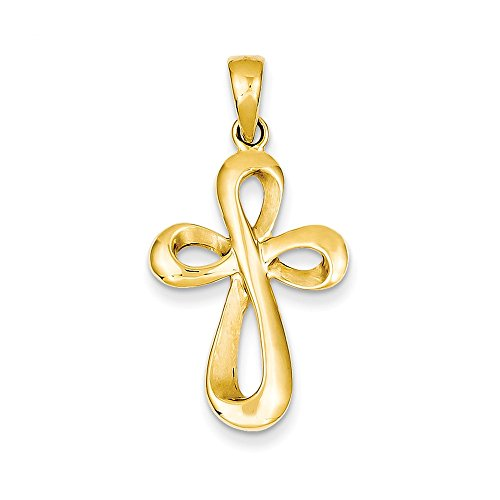 Gold Solid Polished Figure - Mia Diamonds 14k Solid Yellow Gold Polished and Satin Figure 8 Cross Pendant (35mm x 18mm)