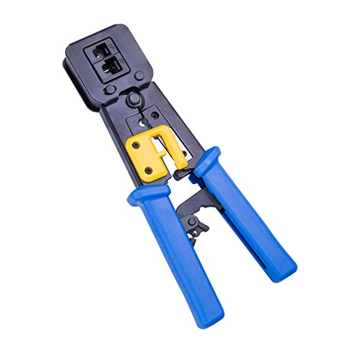 10Gtek RJ45 RJ12 CT-6/8-BU Tool Ethernet Connector Crimper Cutter Crimping Wire Cable Stripper Stripping Blades, - Crimper Plug One Modular