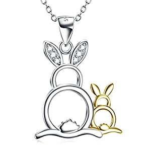 Angel caller Mothers Day 925 Sterling Silver Cute Animal Pendant Cubic Zircon Necklace 18""