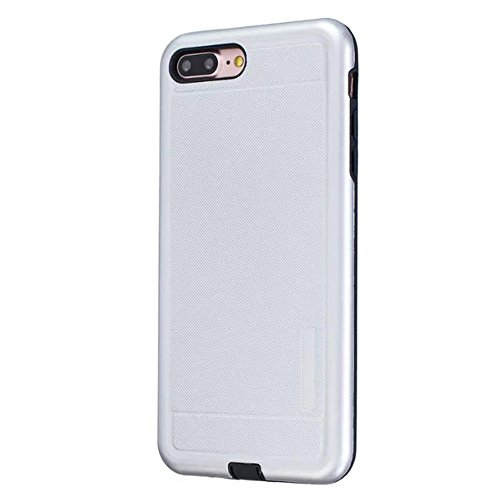 2 en 1 Nouveau Armor Solid Color Dot Pattern Frosted Style hybride double couche d'armure Defender PC Hard Back Cases Housse étui pour Apple IPhone 7 Plus 5.5 pouces ( Color : Silver )