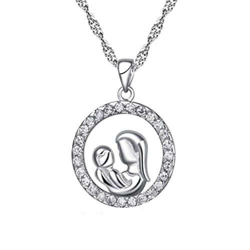 Sunward Fashion Mother's Personalized Zircone Necklace . Mom and Baby.Mother's Day New Gifts ()