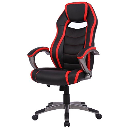417%2B8y8f WL - Giantex-High-Back-Racing-Chair-Home-Office-Gaming-Chair-Bucket-Seat-with-Swiveling-Casters-Red-Black