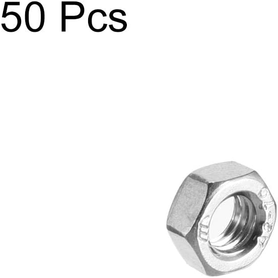 M5x0.8mm Metric Coarse Thread Hexagon Nut Pack of 50 uxcell Hex Nuts Stainless Steel 304