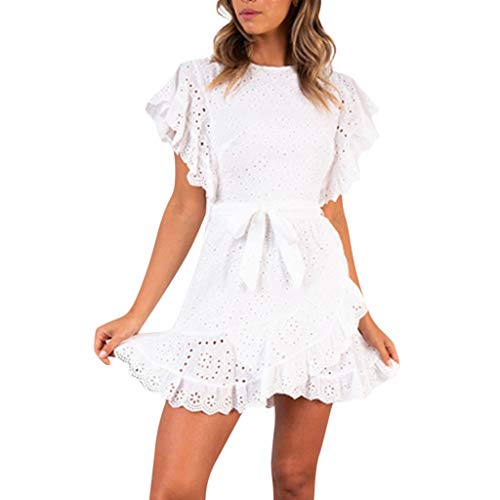 OldSch001 Ladies Summer season Cute Stable Lace Ruffled Sleeved Zipper Irregular Spherical Neck Mini Costume(White,L)