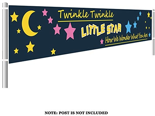 Colormoon Large Twinkle Twinkle Little Star Banner, Baby Shower Party Sign, Gender Reveal Party Supplies Decorations (9.8 x 1.5 feet)