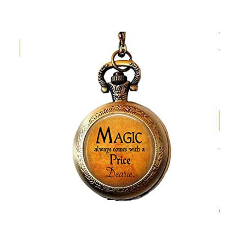 lukuhan Halloween Costume Jewelry - Magic Always Comes with a Price Dearie - Rumpelstiltskin Quote - Once Upon a Time - Magic Spell Pocket Watch Necklace