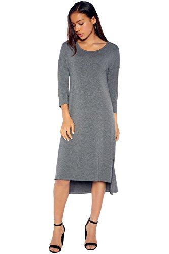 Rohb by Joyce Azria Venice ¾ Sleeve Straight Hem Highlow Dress with Side Slits (Dark Heather Grey) Size L