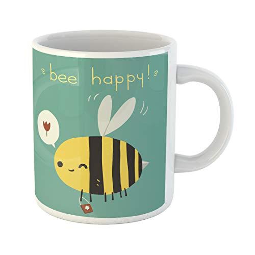 Semtomn Funny Coffee Mug Bee Happy the Cartoon Funny for Ui Games Tablets 11 Oz Ceramic Coffee Mugs Tea Cup Best Gift Or Souvenir ()