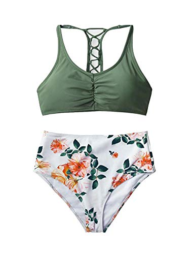 Women's Celadon Green Floral Printing Lace Up High Waisted Two Piece Bikini Sets Swimsuits Green M