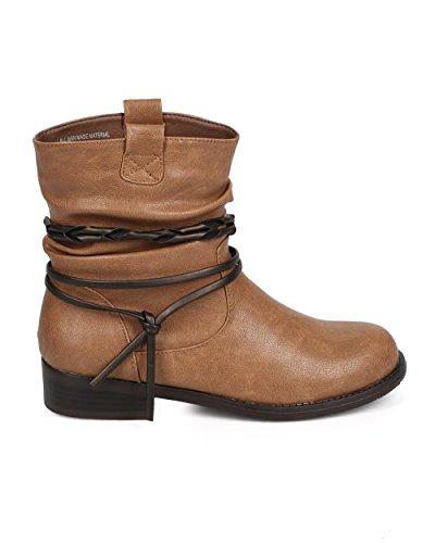 Støtfanger Dh04 Kvinner Leather Rund Tå Belte Wrap Slentre Moto Boot - Kaffe