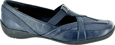 Easy Street Women's Driver II Casual Shoes,Navy Tumbled Leather/Matte/Gore,4 W US