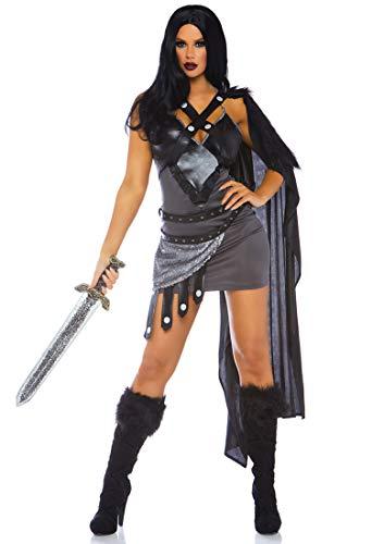 (Leg Avenue Womens Throne Warrior Halloween Costume, Black,)