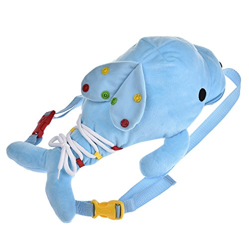 Toddler Backpack with Leash Harness Chest Strap Anti Lost, 3D Cute Animal Shaped, Baby Learning Training for Boys and Girls (Dolphin)