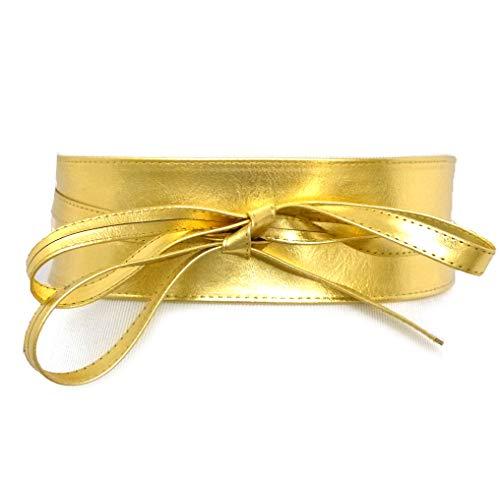 (Women's Wide Lace, Faux Leather Self Tie Wrap Obi Waist Belt (2 Style) (Gold))