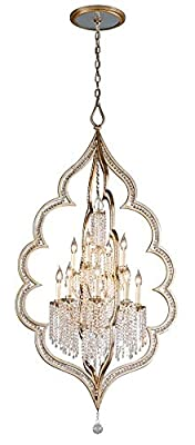 Bijoux 12-Light Two-Tier Entry Pendant - Silver Leaf Finish with Antique Mist