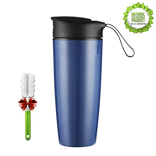ONEISALL BPA-Free Ceramic Lined Coffee Travel Mug With Lid, Insulated Water Bottle Beverage Travel Mug - 17 Ounce (Blue)