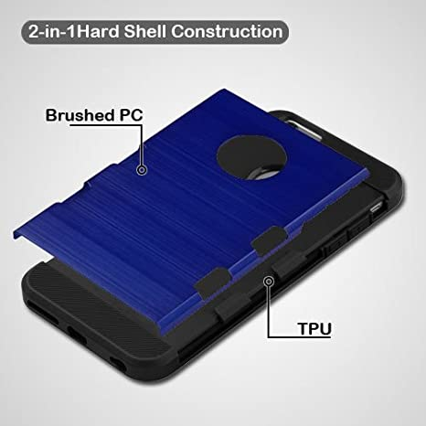 5ba11f2cd60901 Amazon.com  HD Accessory Mybat Military Grade TUFF Trooper Dual Layer Hybrid  Case for iPhone 6 Plus   6S Plus - Brushed Blue  Cell Phones   Accessories