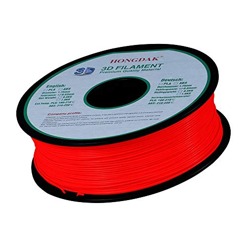 1150 Printer - Sonmer Hongdak PLA 3D Printer Filament, Dimensional Accuracy +/- 0.03 mm, 1 kg Spool, Durchmesser 1.75 mm, No Impurities (Red)