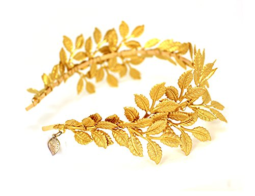 OUMOU Greek Roman Goddess Gold Leaf Crown Headpiece - Bridal Wedding Headband -