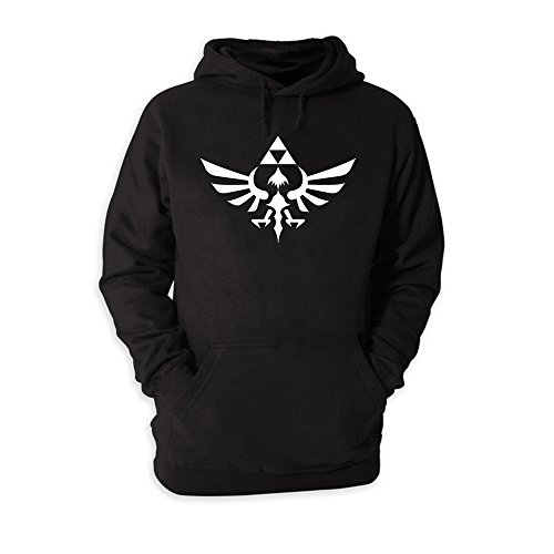 Nintendo Legend of Zelda Triforce Pullover Sweatshirt Hoodie - Black (Large) -