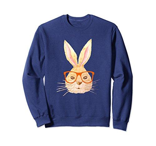 Unisex Funny Easter Bunny Wearing Glasses Sweatshirt XL: Navy (Navy Wearing Jumper)