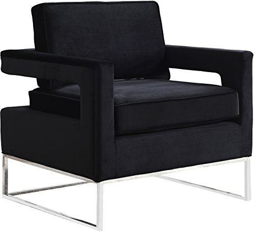 Meridian Furniture 510Black Modern | Contemporary Black Velvet Upholstered Accent Chair with Chrome Stainless Steel Base, 33.5