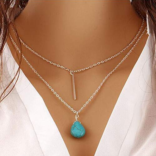 (Evazen Boho Turquoise Necklace Bar Layer Necklace Silver Blue Beaded Water Drop Necklace Chain Beach Jewelry for Women and Girls)