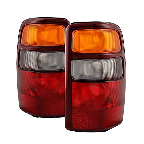 VIPMOTOZ Red & Amber Lens OE-Style Tail Light Lamp Assembly For 2000-2006 Chevy Tahoe Suburban GMC Yukon XL 1500 2500, Driver & Passenger Side