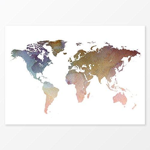 Watercolor World Map Wall Art Poster, Size 11x14, Modern Hom